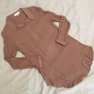 Brown Semi-Sheer Tunic Shirt